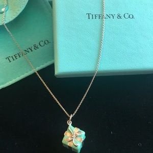 """Tiffany Blue Box Charm Necklace with 20"""" chain"""